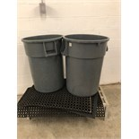 Two Rubbermaid Brute Trash Cans
