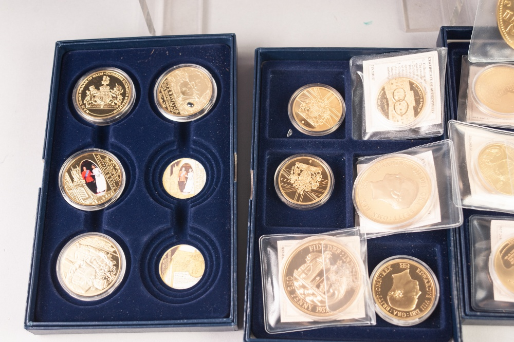 Lot 72 - GOLD & SILVER BUREAU, SELECTION OF COMMEMORATIVE GILT METAL MEDALLIONS, mainly with related