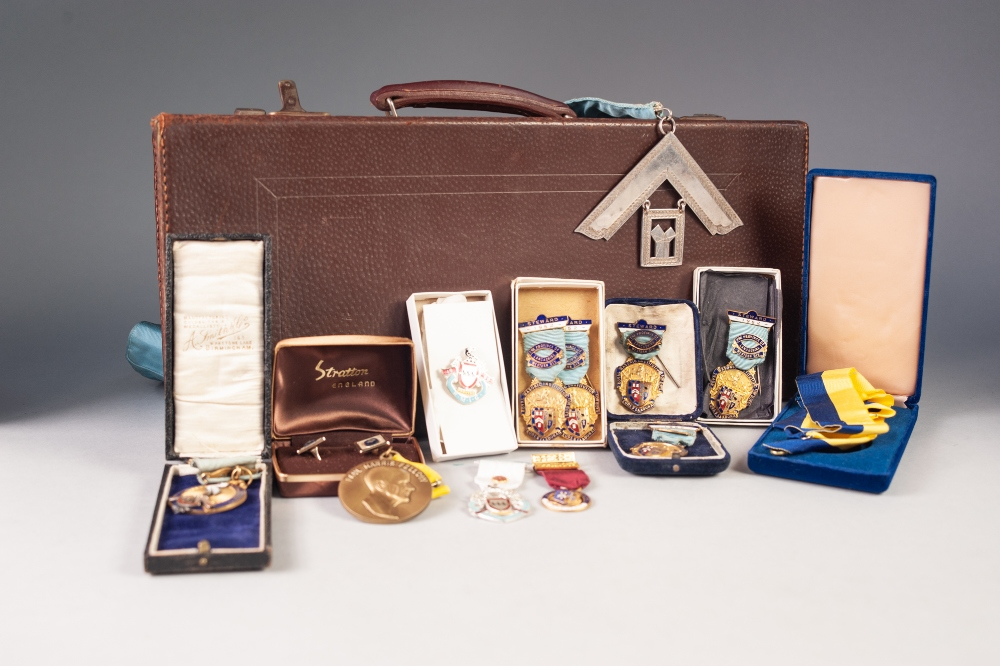 Lot 54 - NINE MASONIC GILT METAL AND ENAMEL MEDALLIONS, some in original boxes and a SELECTION MASONIC