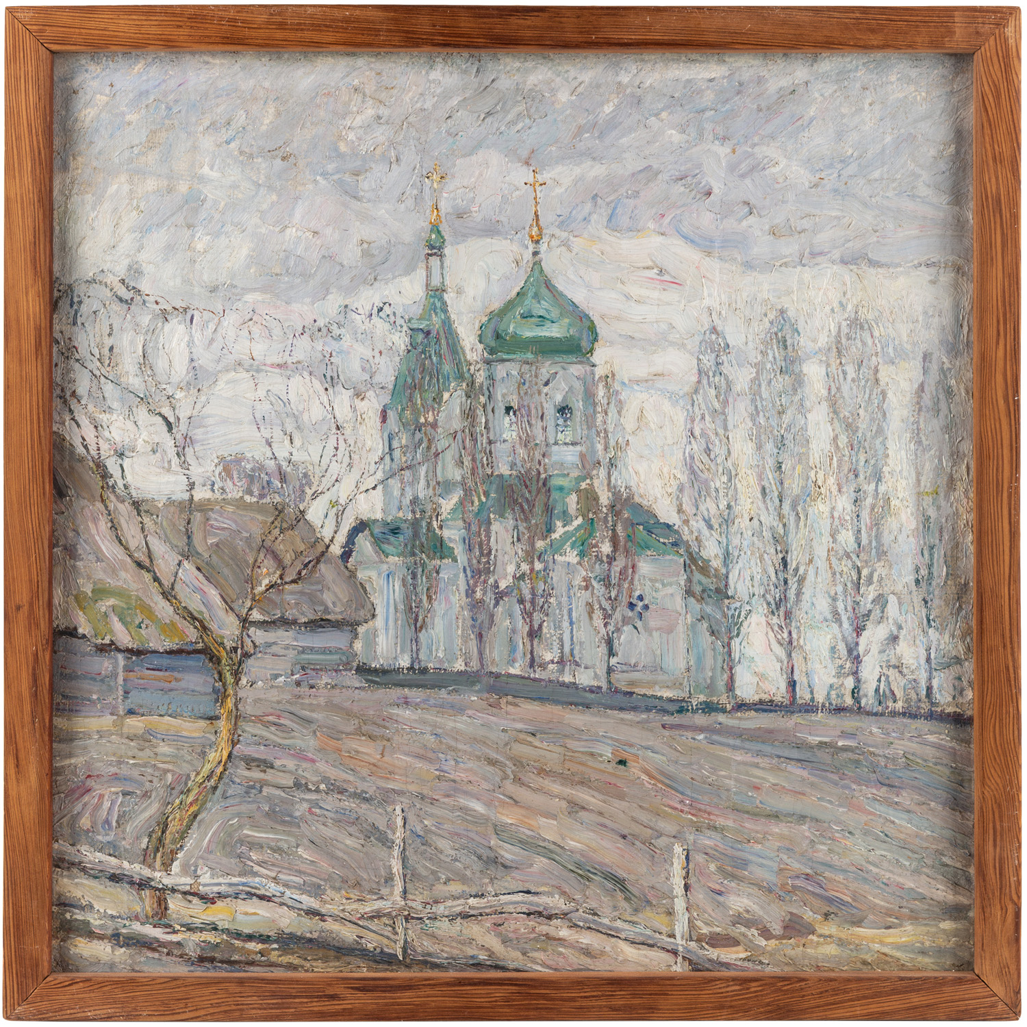 A DOUBLE-SIDED LANDSCAPE PAINTING BY ABRAHAM MANIEVICH (RUSSIAN 1883-1942) - Image 4 of 5
