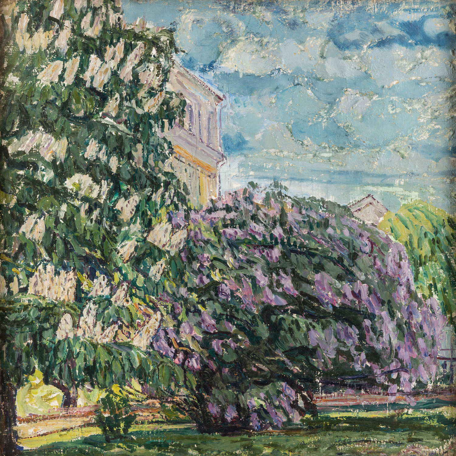 A DOUBLE-SIDED LANDSCAPE PAINTING BY ABRAHAM MANIEVICH (RUSSIAN 1883-1942) - Image 3 of 5