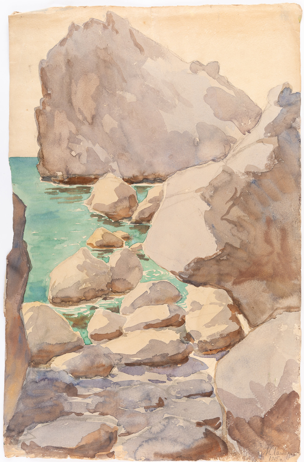 A GROUP OF THREE LANDSCAPE DRAWINGS BY NIKOLAI LANCERAY (RUSSIAN 1879-1942) - Image 4 of 10