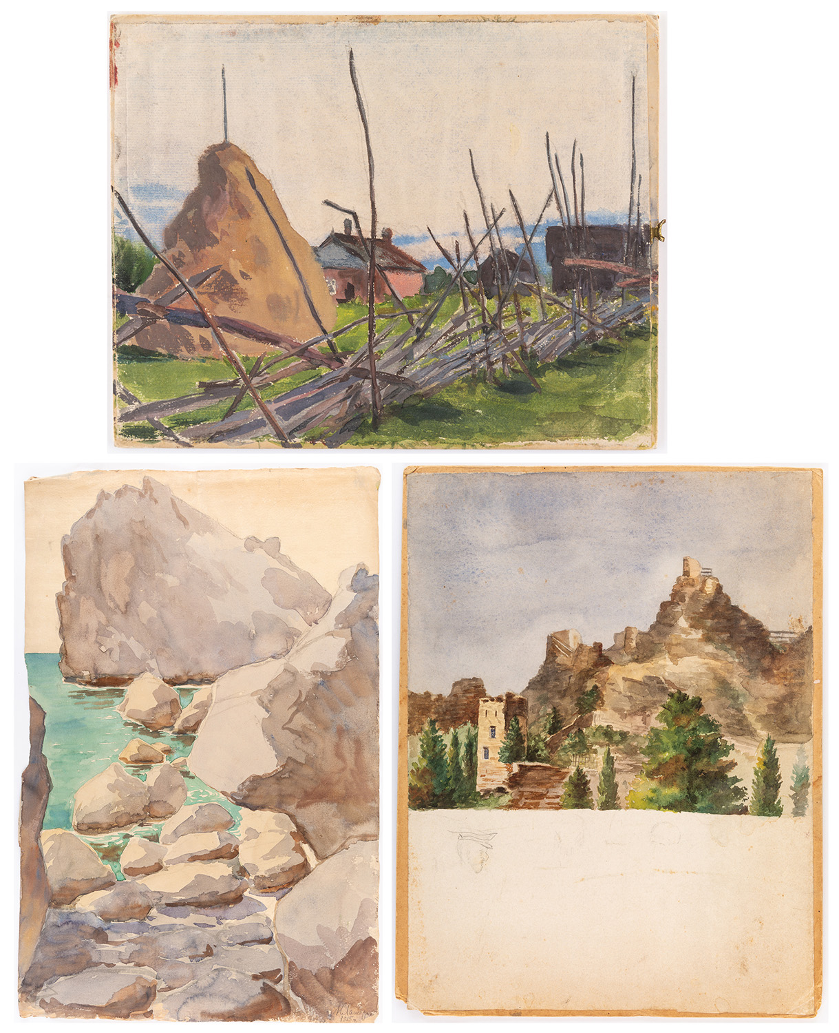 A GROUP OF THREE LANDSCAPE DRAWINGS BY NIKOLAI LANCERAY (RUSSIAN 1879-1942)