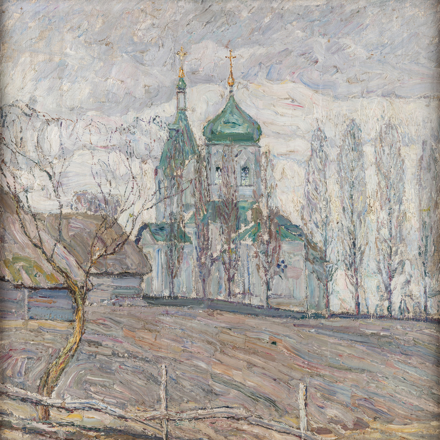 A DOUBLE-SIDED LANDSCAPE PAINTING BY ABRAHAM MANIEVICH (RUSSIAN 1883-1942) - Image 2 of 5