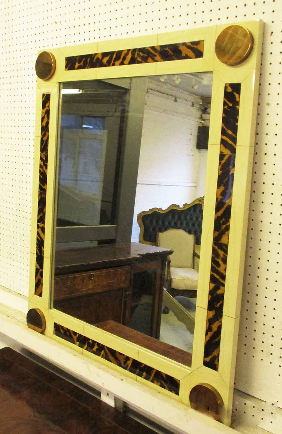 Lot 12 - WALL MIRROR, rectangular faux ivory and tortoiseshell with a circular brass roundel to each corner,