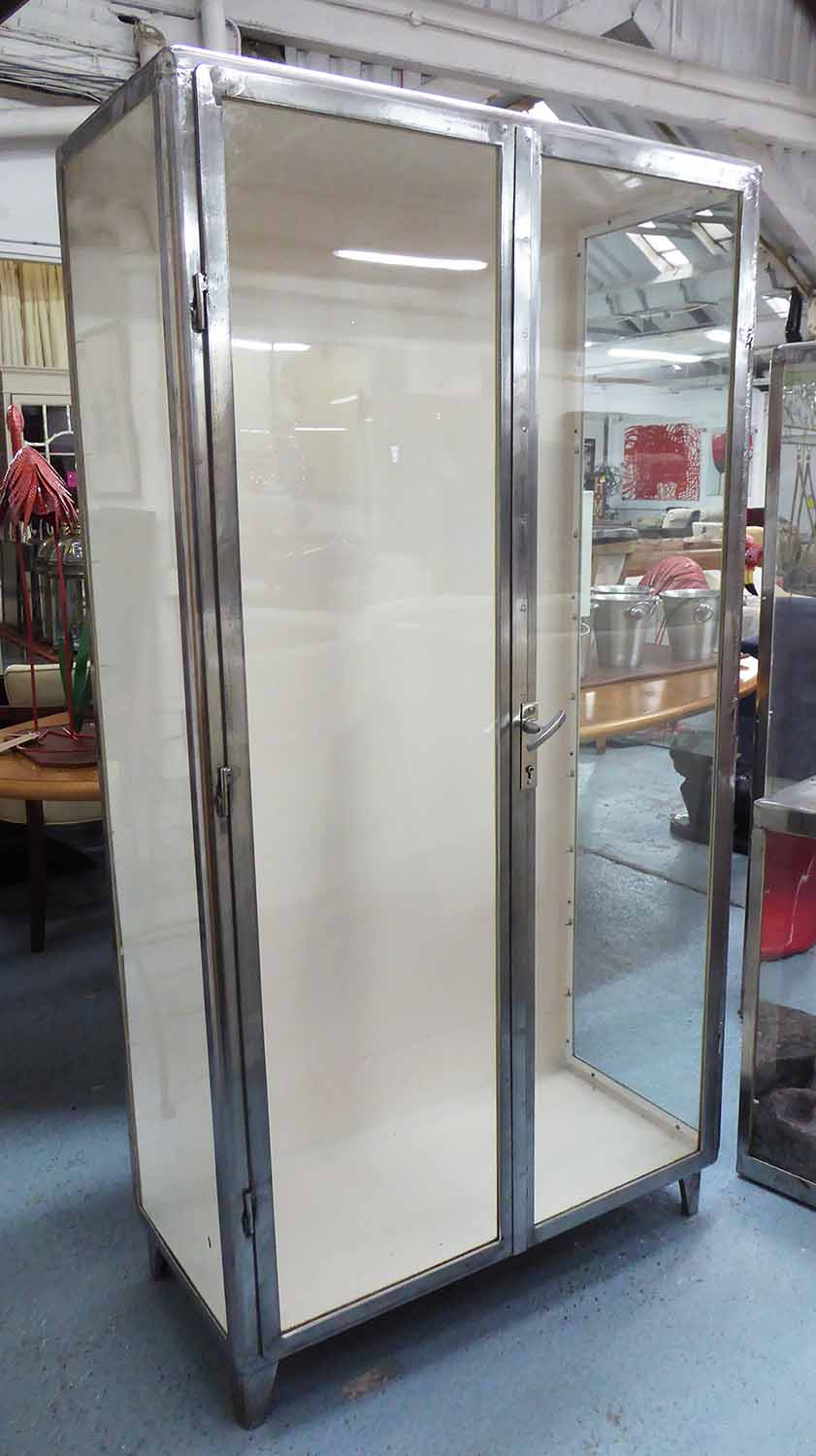 Lot 43 - DISPLAY CABINET, industrial polished metal with glass shelves, 95cm x 46cm x 178cm H.