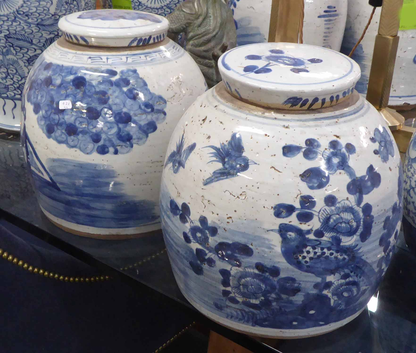 Lot 30 - GINGER JARS, a pair, Chinese style blue and white, 29cm H.