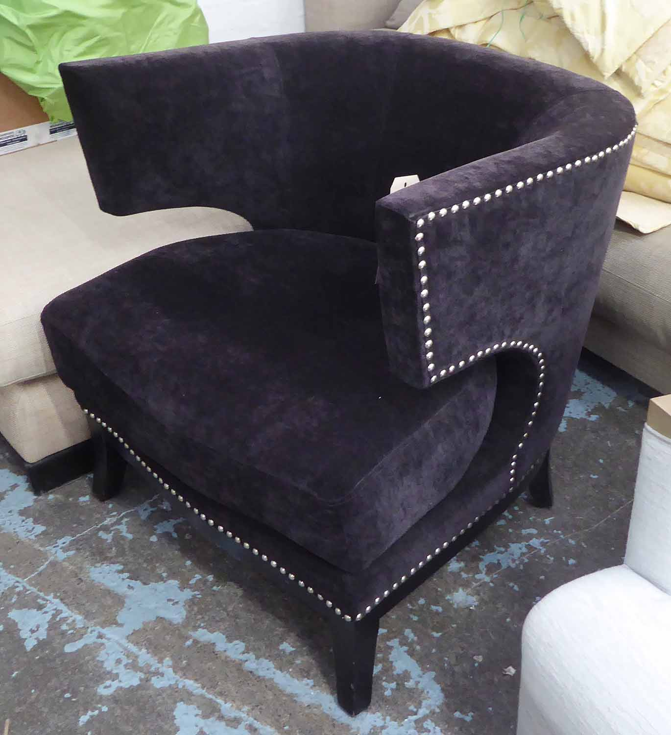 Lot 2 - KLISMOS CHAIR, in black fabric, studded detail, on square supports, 77cm W.