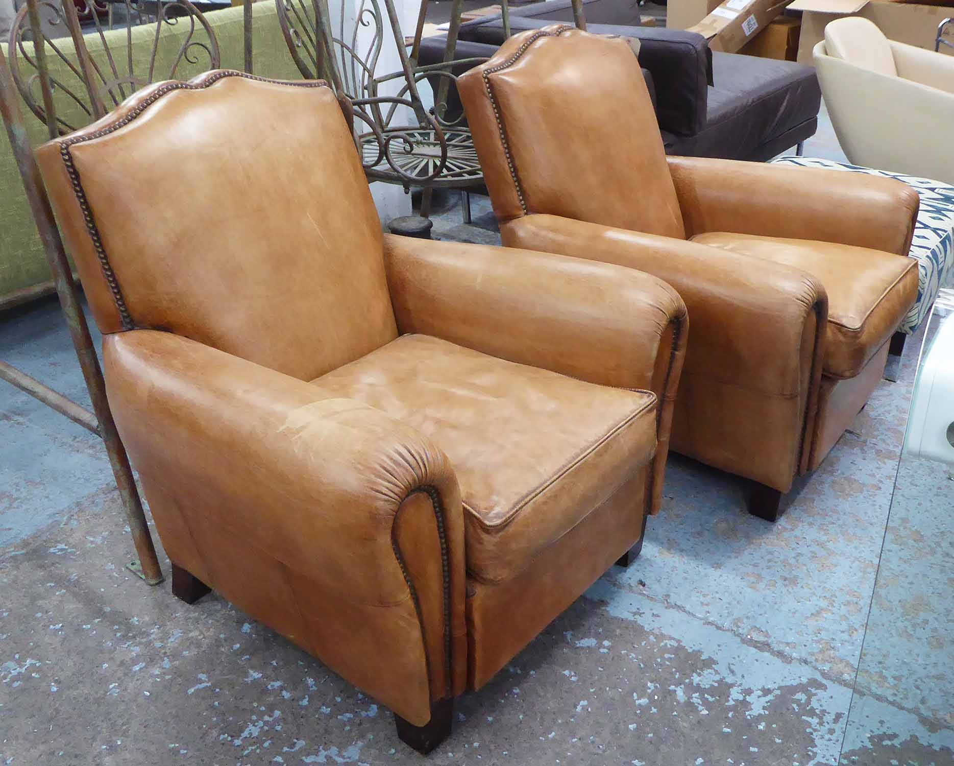 Lot 26 - CLUB ARMCHAIRS, a pair, early 20th century style tanned leather, 87cm.