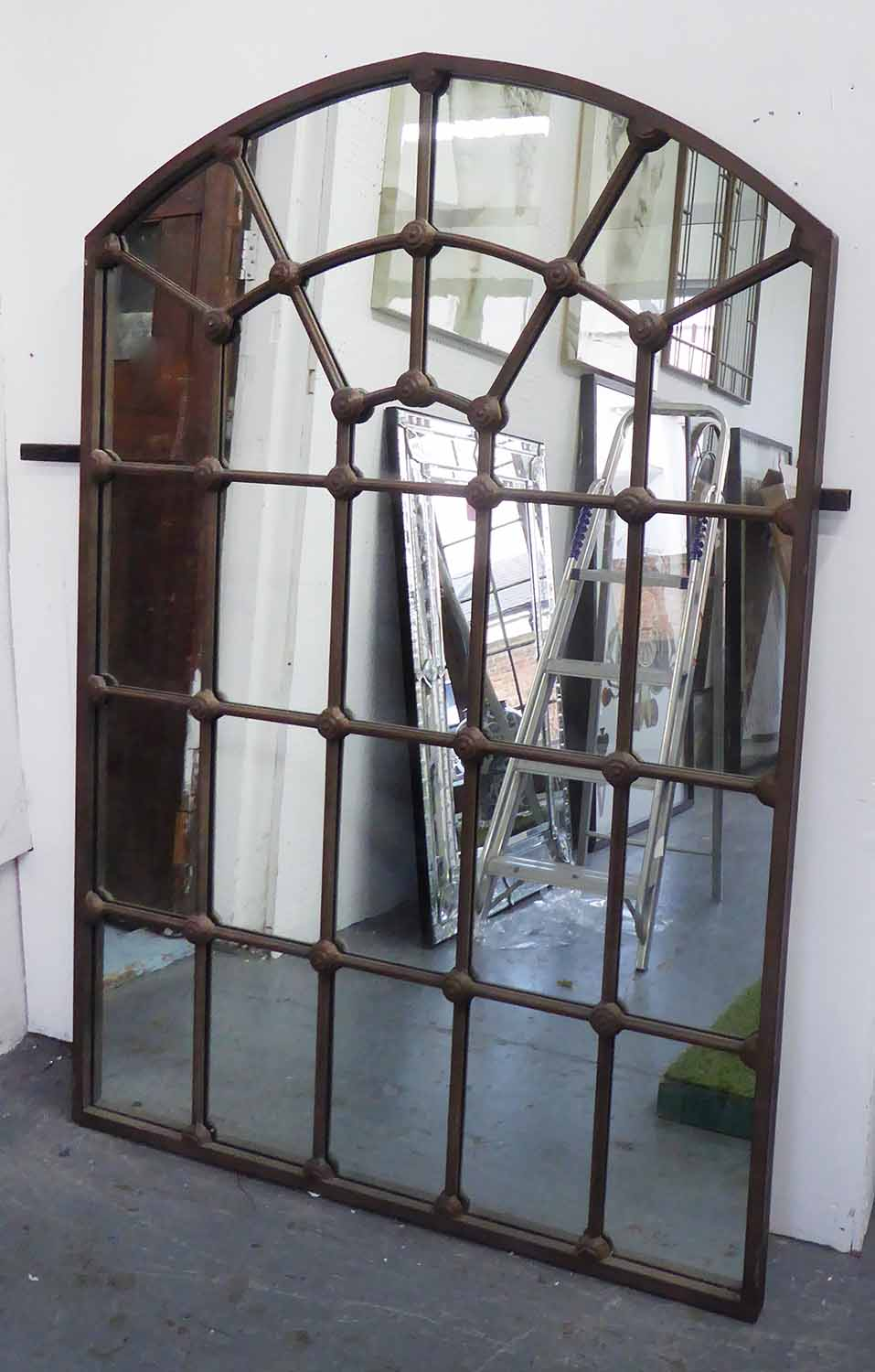 Lot 45 - WINDOW MIRROR, Georgian style, rustic cast iron frame, 104cm x 155cm H.