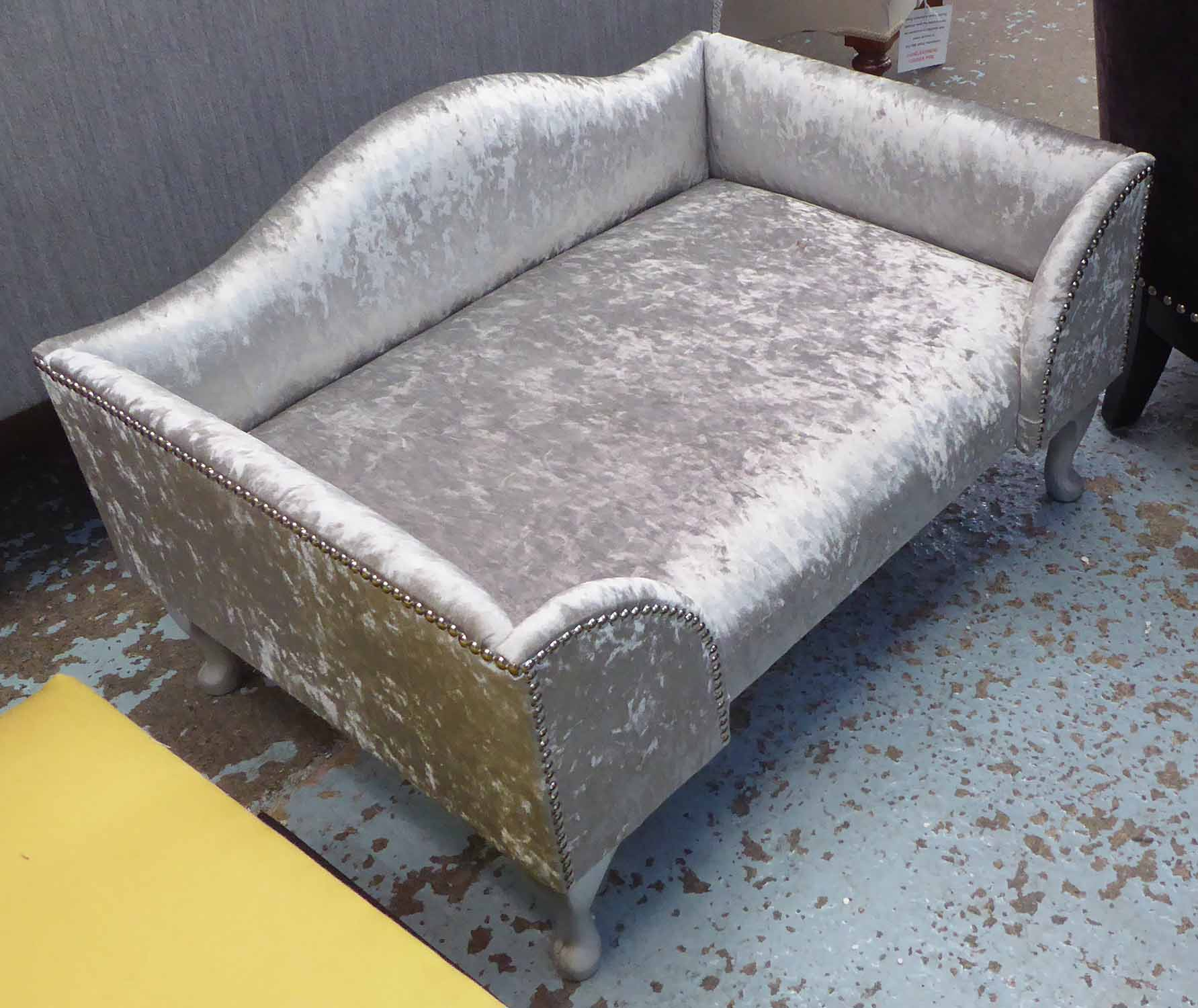 Lot 4 - DOG BED, in grey crushed velvet with studded detail, on cabriole supports, 82cm x 55cm x 38cm H.