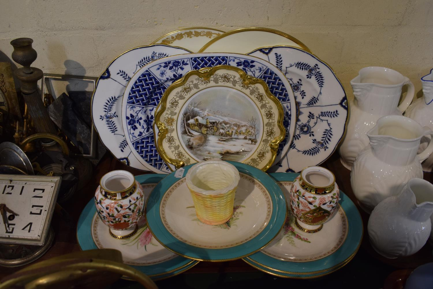 Lot 173 - A Tray of Ceramics to Include Hand Painted Continental Fruit Plates, Decorated Plates, Coalport