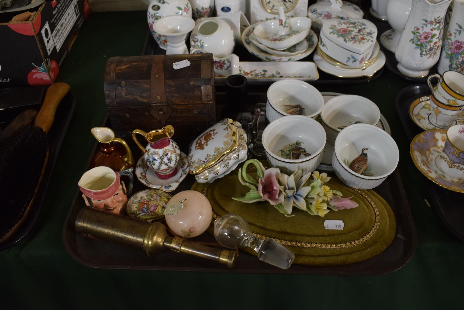 Lot 214 - A Tray of Sundries to Include Miniature Ceramic Jugs and Dishes, Dome Topped Box, Glass Knife