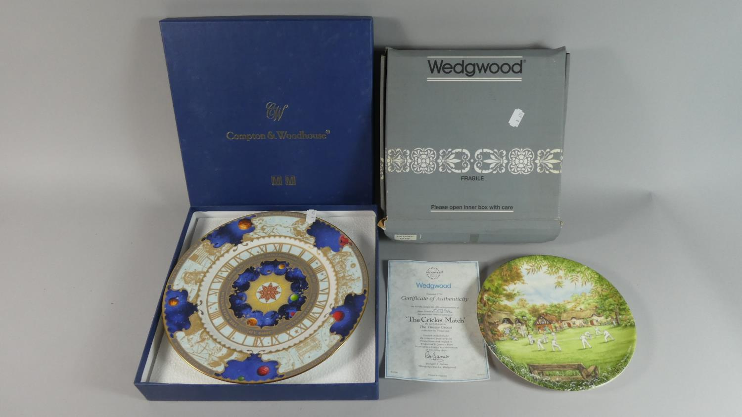 Lot 262 - A Boxed Royal Worcester Millenium Plate and Wedgwood Cricket Match Plate