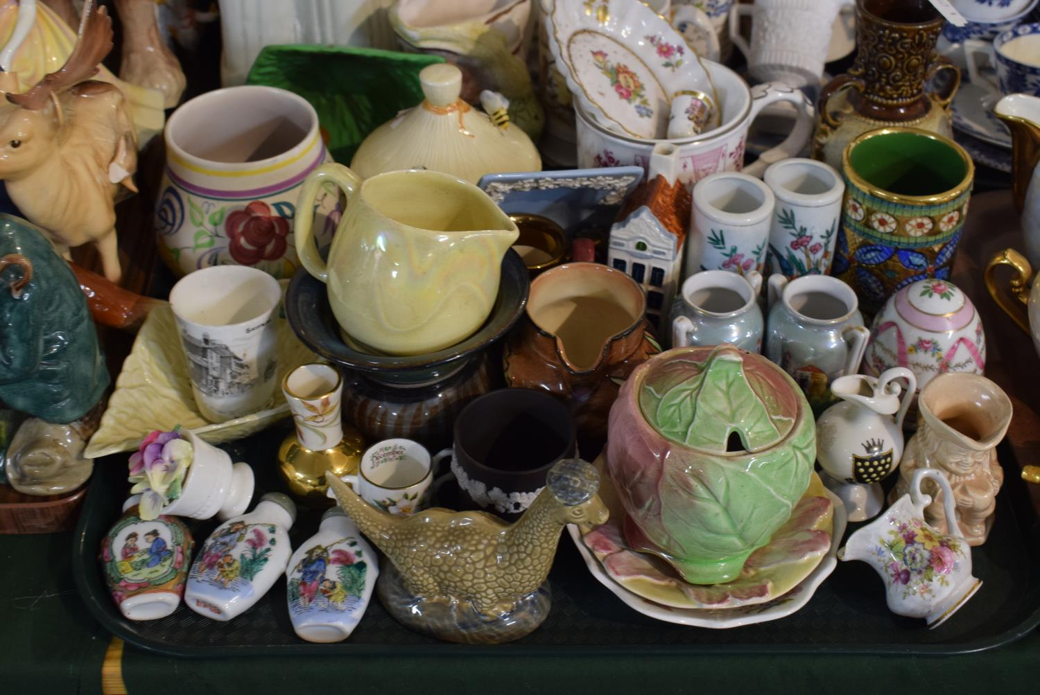Lot 198 - A Tray of Mixed Ceramics to Include Chinese Snuff Bottles, Miniature Vases and Jugs, Crested Ware,