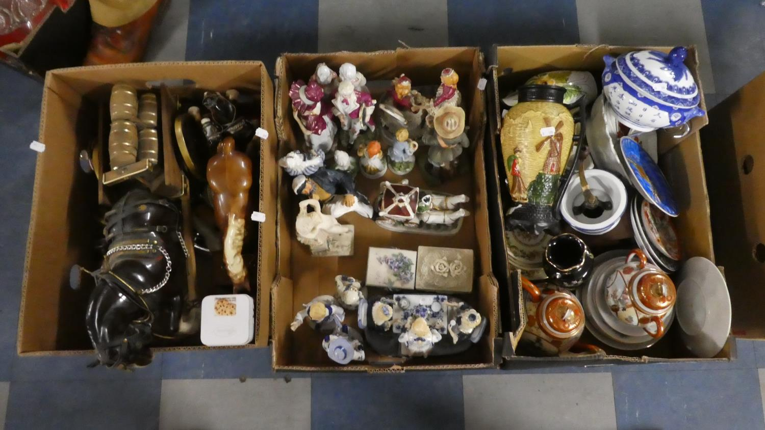 Lot 373 - Three Boxes Containing Continental Figural Ornaments, Oriental Teawares, Heavy Horse and Cart