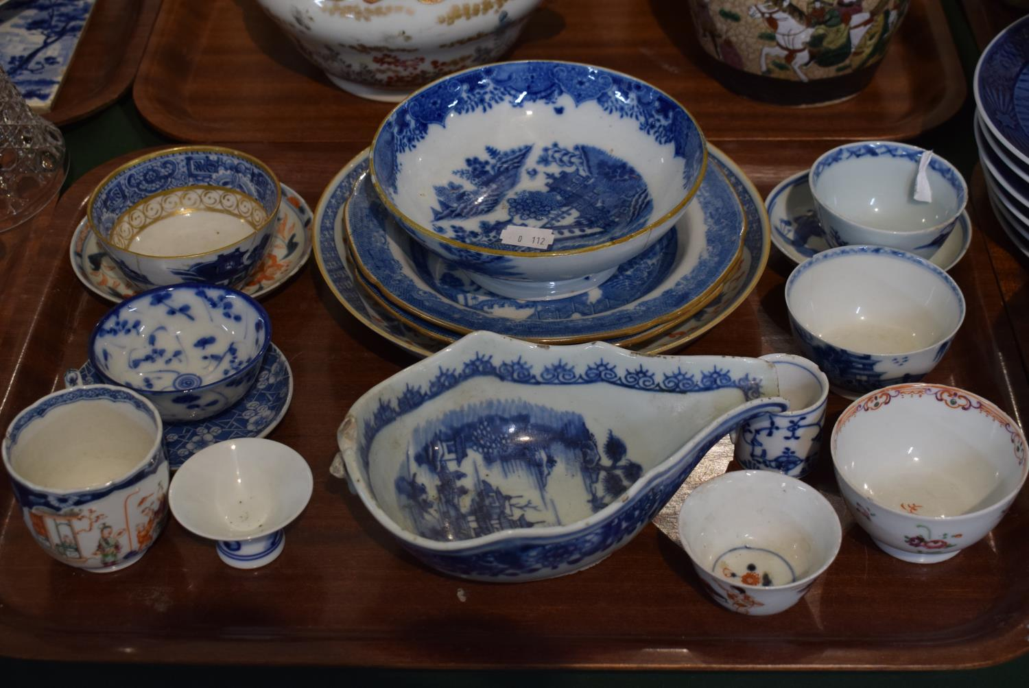 Lot 184 - A Tray of Blue and White Ceramics to Include Bowls, Chinese Tea Bowls and Saucers etc