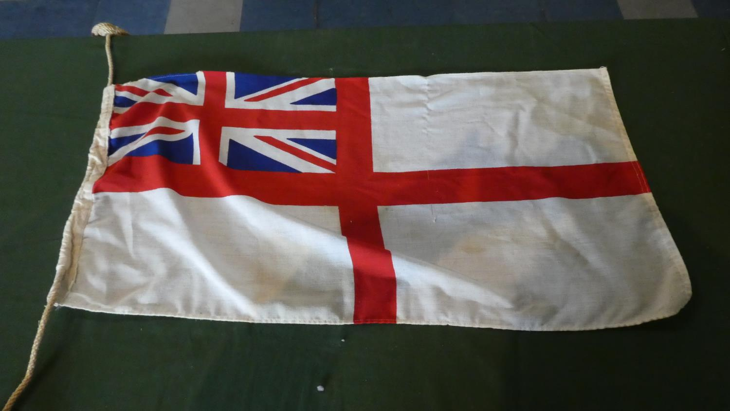 Lot 25 - A Collection of Ten Fabric Flags to Include Red Ensign, Romania, Monte Carlo group, Hungary, Israel,