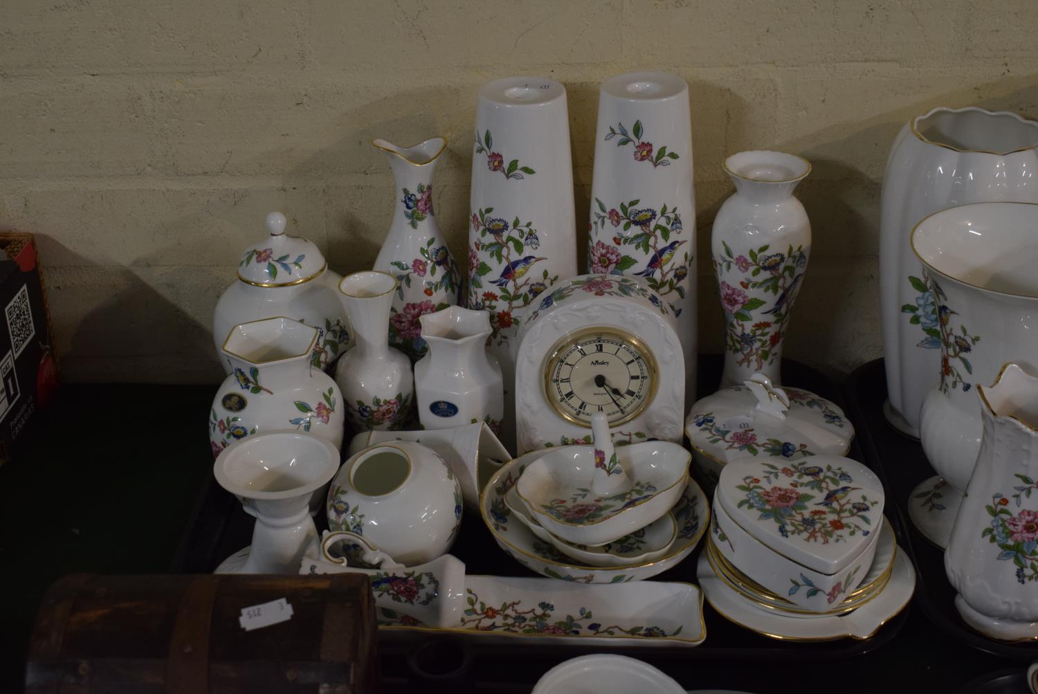 Lot 215 - A Tray Containing Large Quantity of Aynsley Pembroke Items to Include Mantle Clock, Vases, Candle