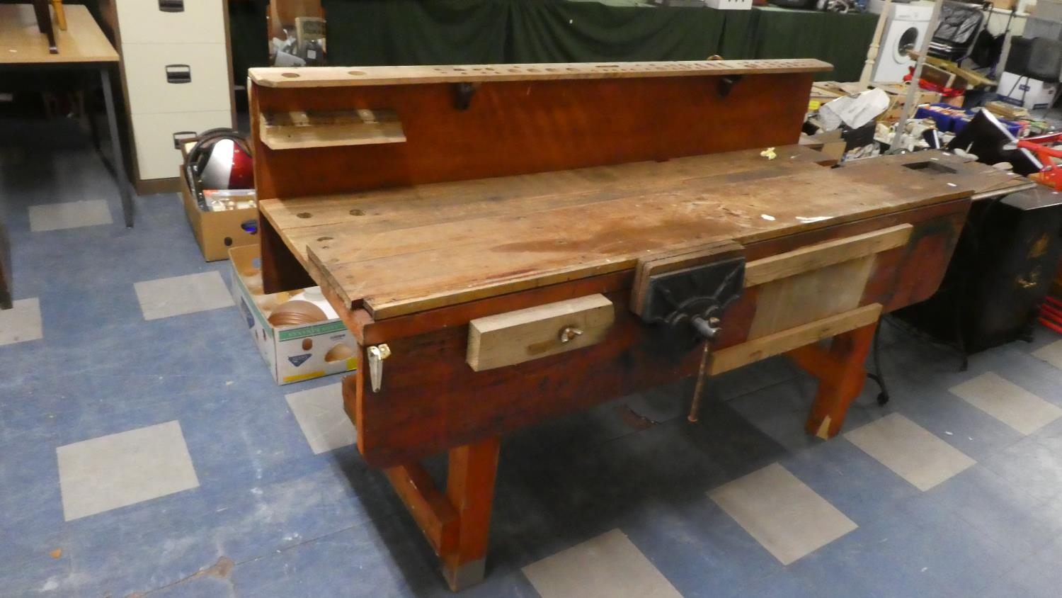 Lot 338 - A Wooden Work Bench with Vice, 185cm Wide