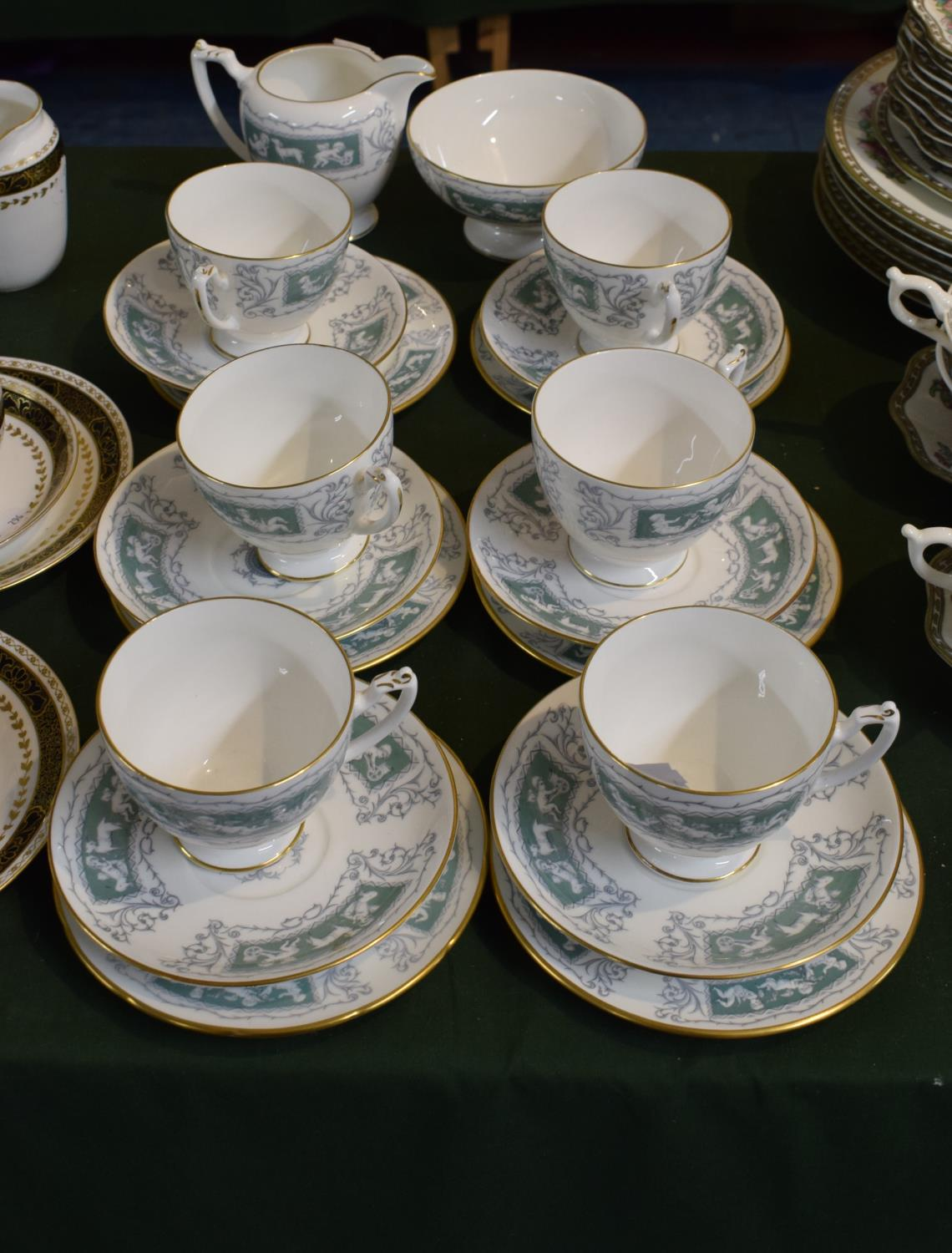 Lot 226 - A Collection of Coalport 'Revelry Adam Green' Teawares to Include Six Trios, Cream and Sugar