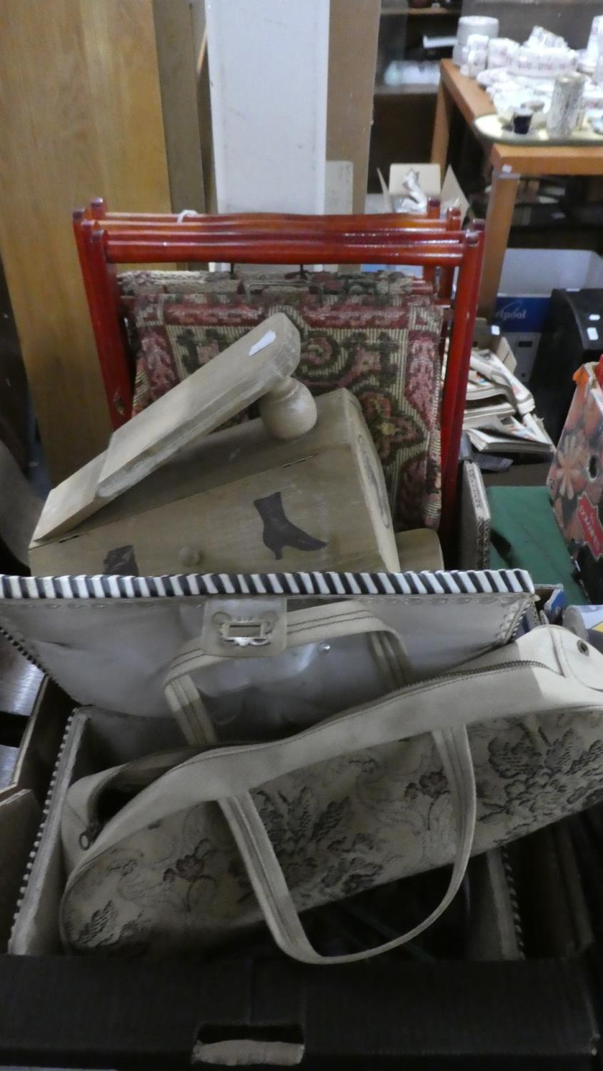 Lot 383 - A Box of Sundries to Include Shoe Cleaning Boxes, Sewing Box and Contents, Tapestry Wall Container