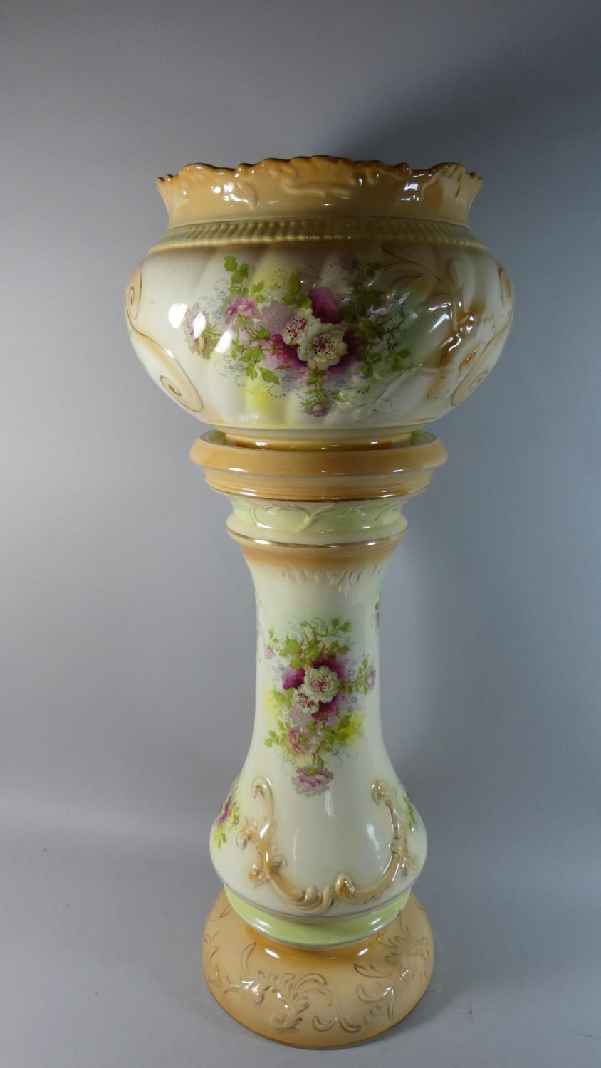 Lot 36 - An Edwardian Ceramic Jardiniere on Stand with Floral Decoration, 82.5cm High