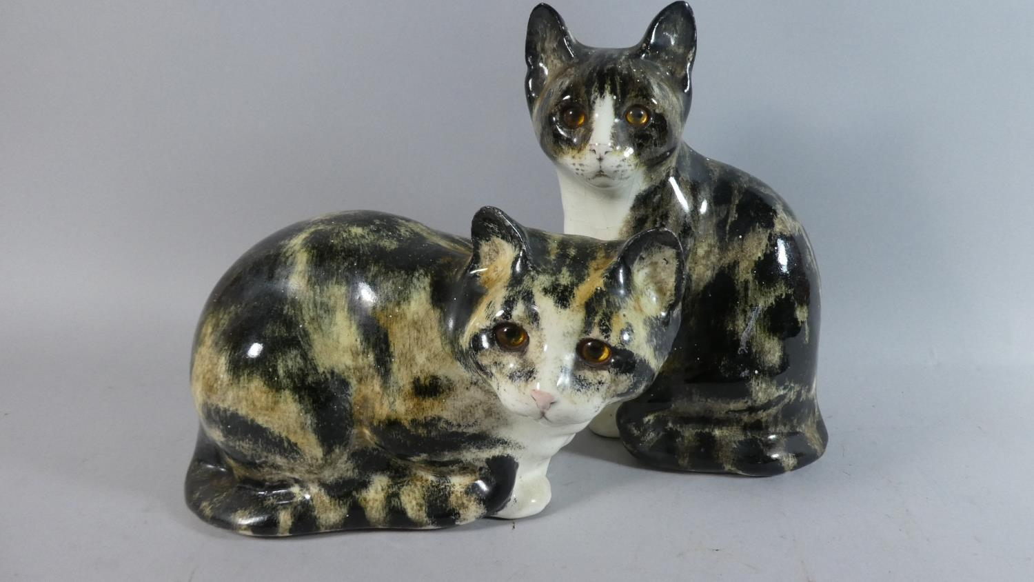 Lot 243 - Two Winstanley Cats, Both with Glass Eyes, the Tallest 25.5cm High