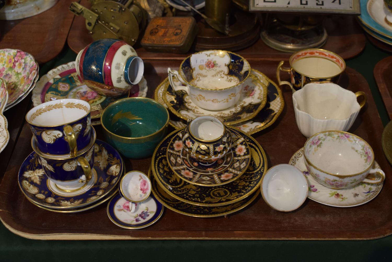 Lot 175 - A Tray of Ceramics to Include Royal Crown Derby Coalport Batwing Trio, Royal Vienna etc