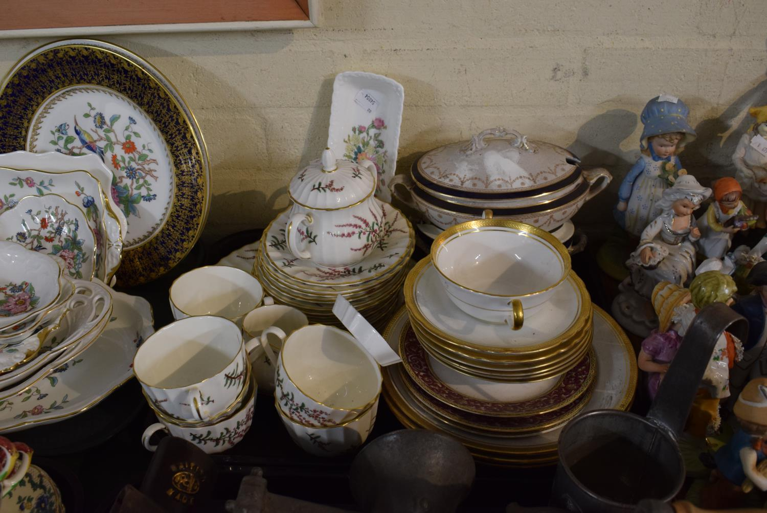 Lot 204 - A Tray Containing Royal Worcester Dunrobin Teawares, Coalport Pen Tray, Aynsley Soup Bowls and