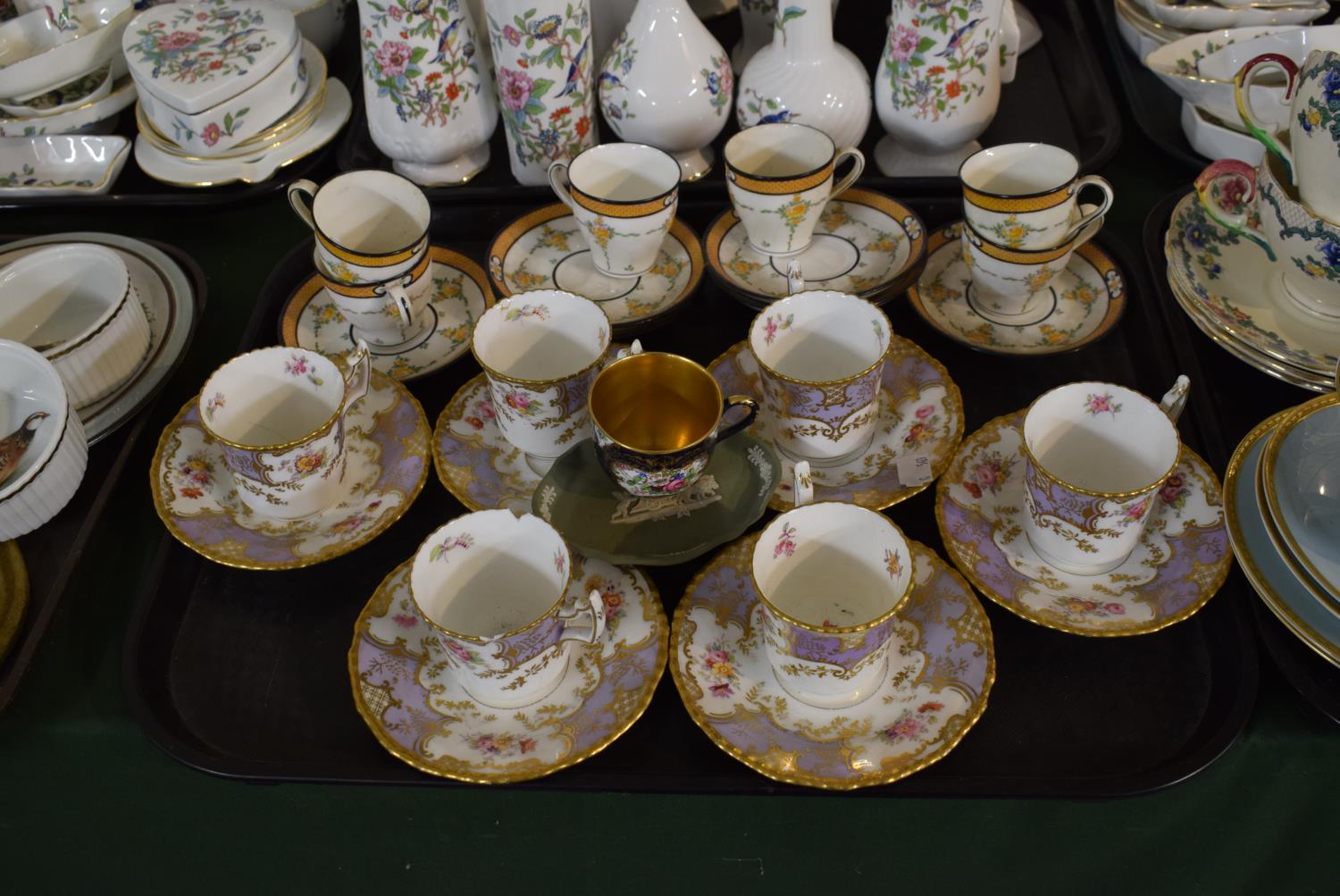 Lot 210 - A Tray Containing a Collection of Coalport Mauve Batwing Coffee Cans and Saucers (One Can AF)