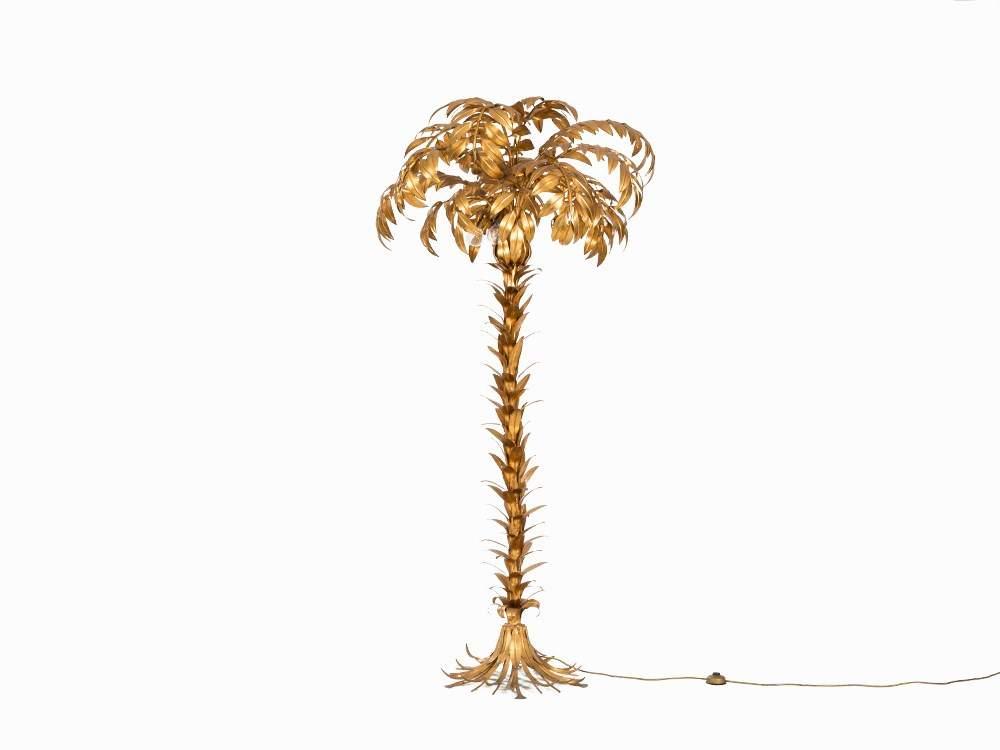 Hans K 246 Gl A Leaf Gilt Floor Lamp Palm Tree 1970s Metal