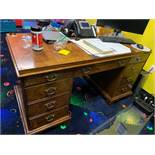NATIONAL MT. AIRY WOOD ANTIQUE STYLE DESK - 57''Lx27''Dx30''H
