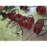Alemite / Balcrank OIL System w/ (6) Hose Reels, (3) Controls, 3-Spigot Bar & Pump (1 x Your Bid)