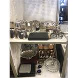 A mixed quantity of silver plate