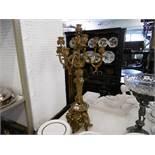 A French tall gilt bronze seven branch candelabra