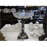A large Victorian silver plate and glass centre piece