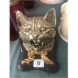A bronze silvered cats hat inkwell