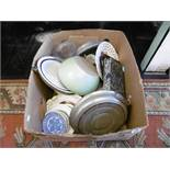 A box of assorted china and sundries