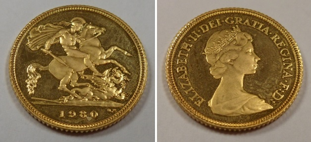 Lot 53 - Gold Coin, GB, QE2, 1980, Royal Mint, proof half sovereign, UNC (1)