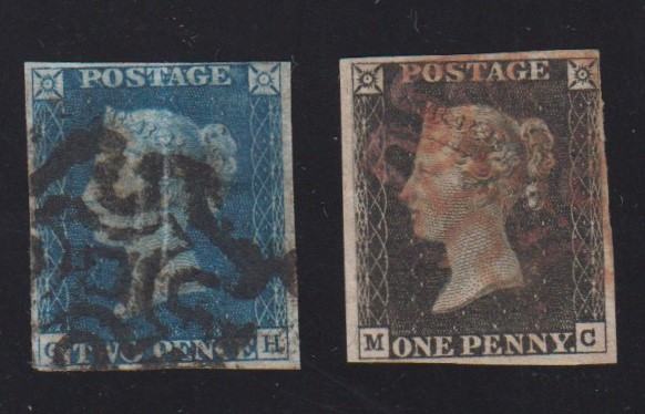 Lot 1 - Stamps, GB, 1840 1d black, fine used, with red Maltese cross mark sold with 1840 2d blue, fine used,