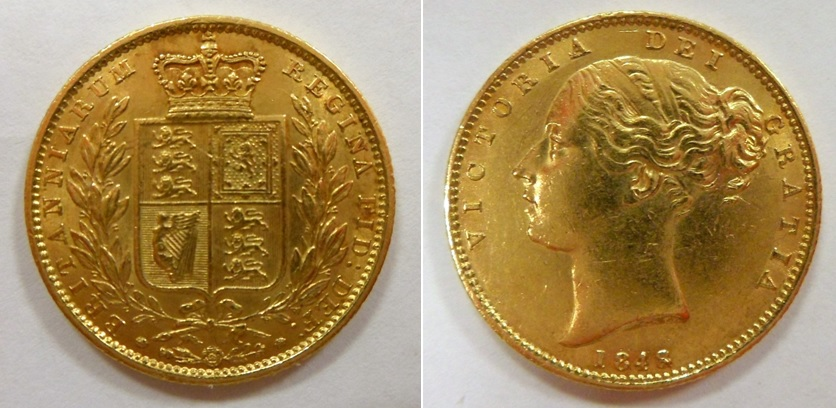 Lot 58 - Gold coin, GB, QV, full gold sovereign, 1848, full shield to reverse EF (1)