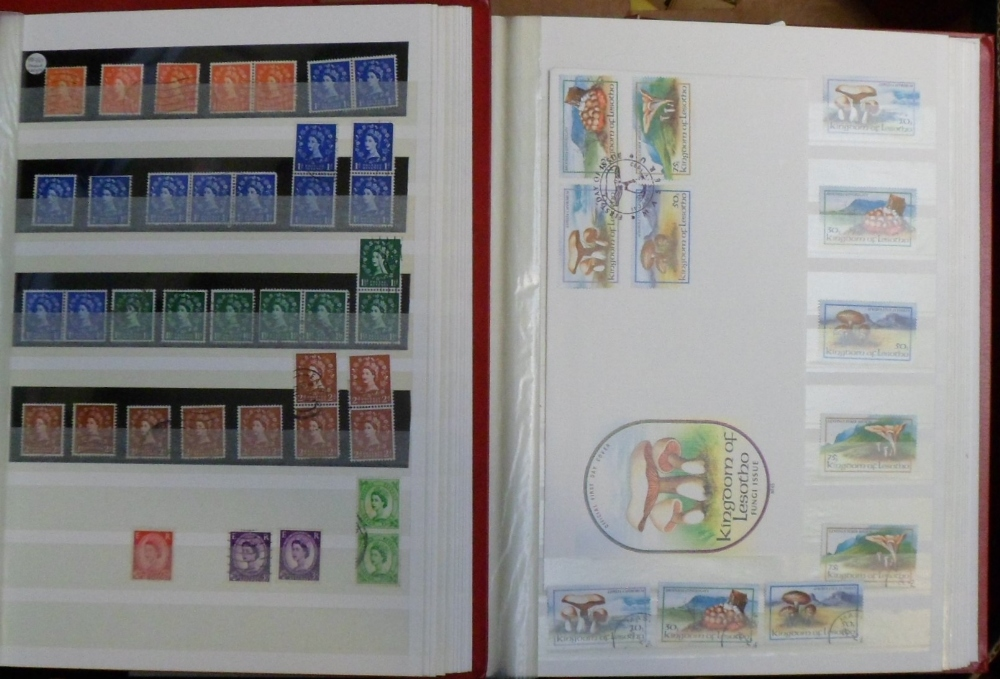Lot 27 - Stamps, a mixed collection including 9 stockbooks of British GB stamps and covers also Lesotho
