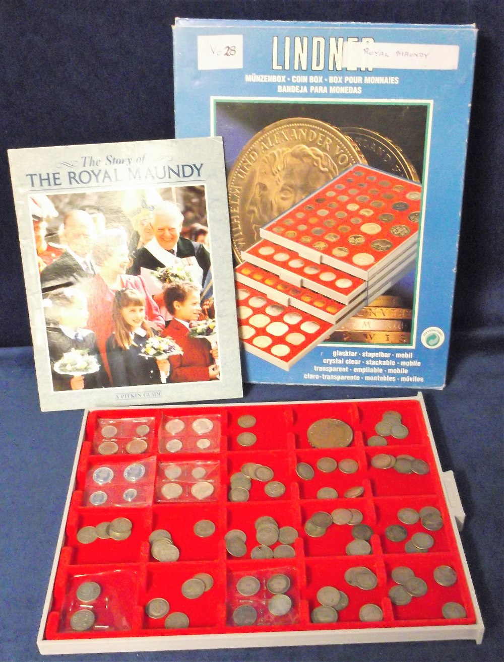 Lot 48 - Coins, GB, Lindner coin tray containing 4 Maundy coin sets 1937, 1954, & 2 sets for 2002 all FDC