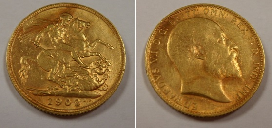 Lot 56 - Gold coin, GB, Edward 7th, full sovereign, 1902 VF (1)