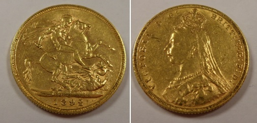 Lot 57 - Gold coin, GB, QV, full gold sovereign, 1892 EF (1)