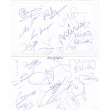 BRAZIL FOOTBALL: An attractive stiff white folding oblong 8vo card individually signed to the