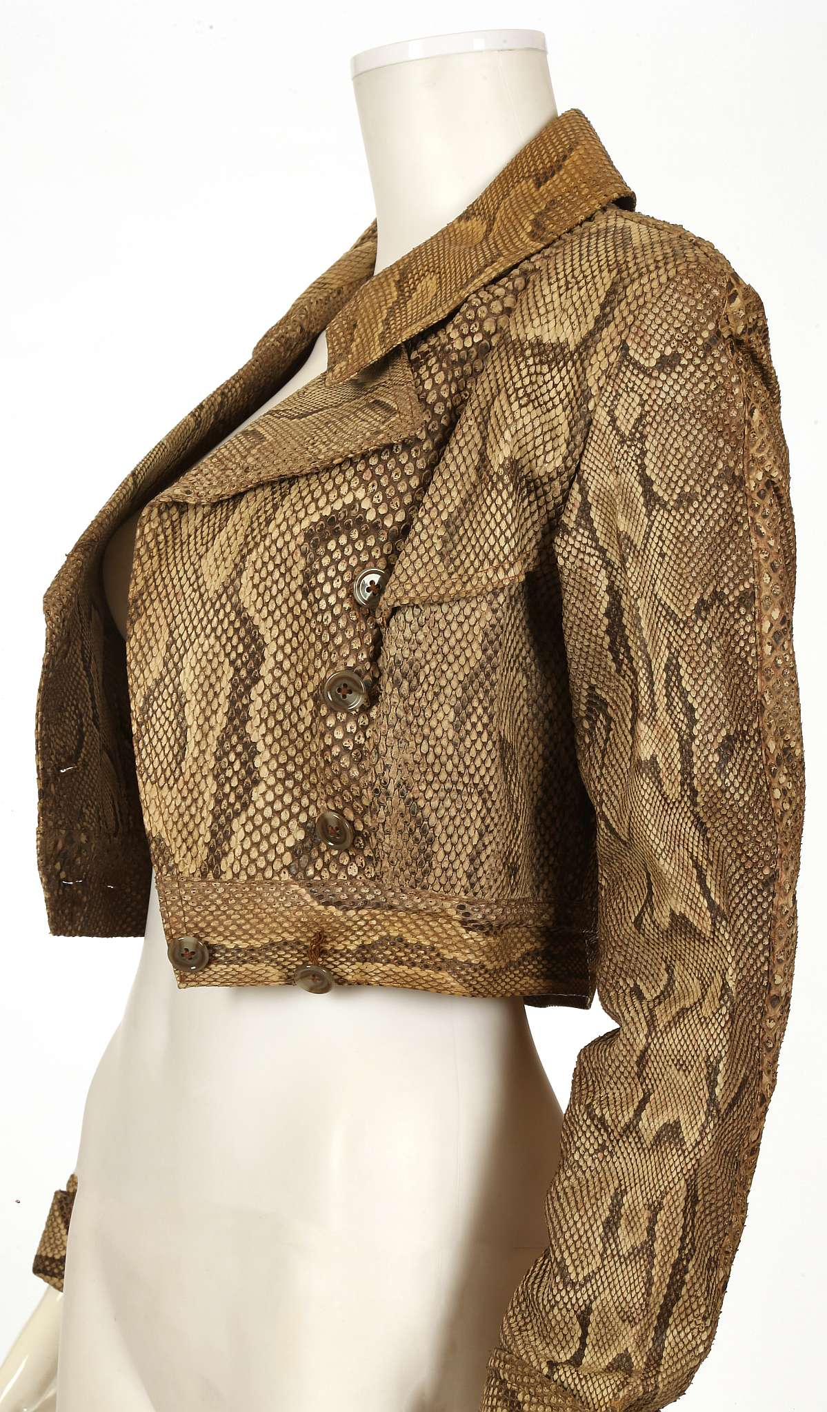 Lot 663 - OSSIE CLARK PYTHON SKIN JACKET, late 1960s, waist length and double breasted with full lapels and