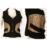 Lot 664 - JEAN MUIR FOR MOREL BLACK SUEDE AND PYTHON SKIN WAISTCOAT TOP, late 1960s, with button down front