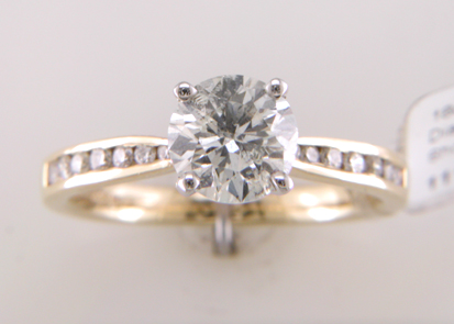 Lot 1 - 18ct Yellow Gold Single Stone Diamond Ring With Stone Set Shoulders (1.11) 1.28